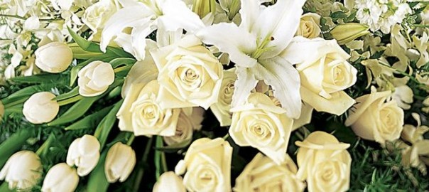 Spray of White Funeral Flowers