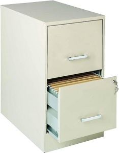 A standard home office file cabinet with two drawers. The top drawer is partially open to show files inside.