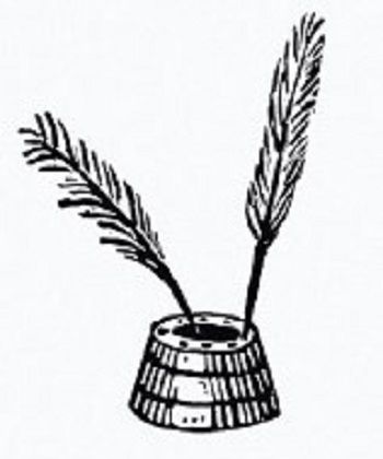 black and white line drawing of two feather pens in an inkwell