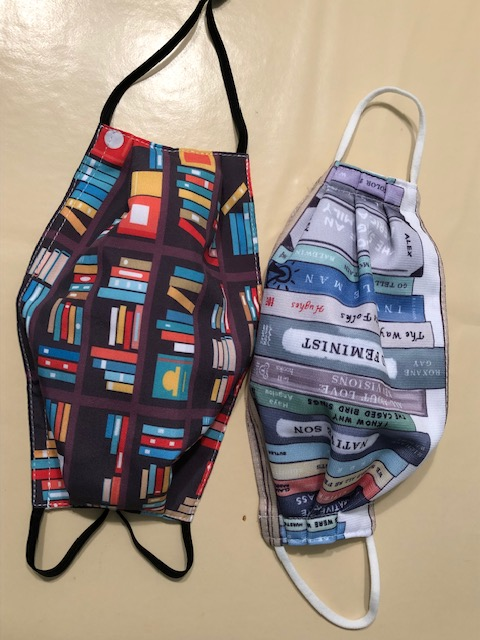 Two facemasks expressing love of libraries and African American authors